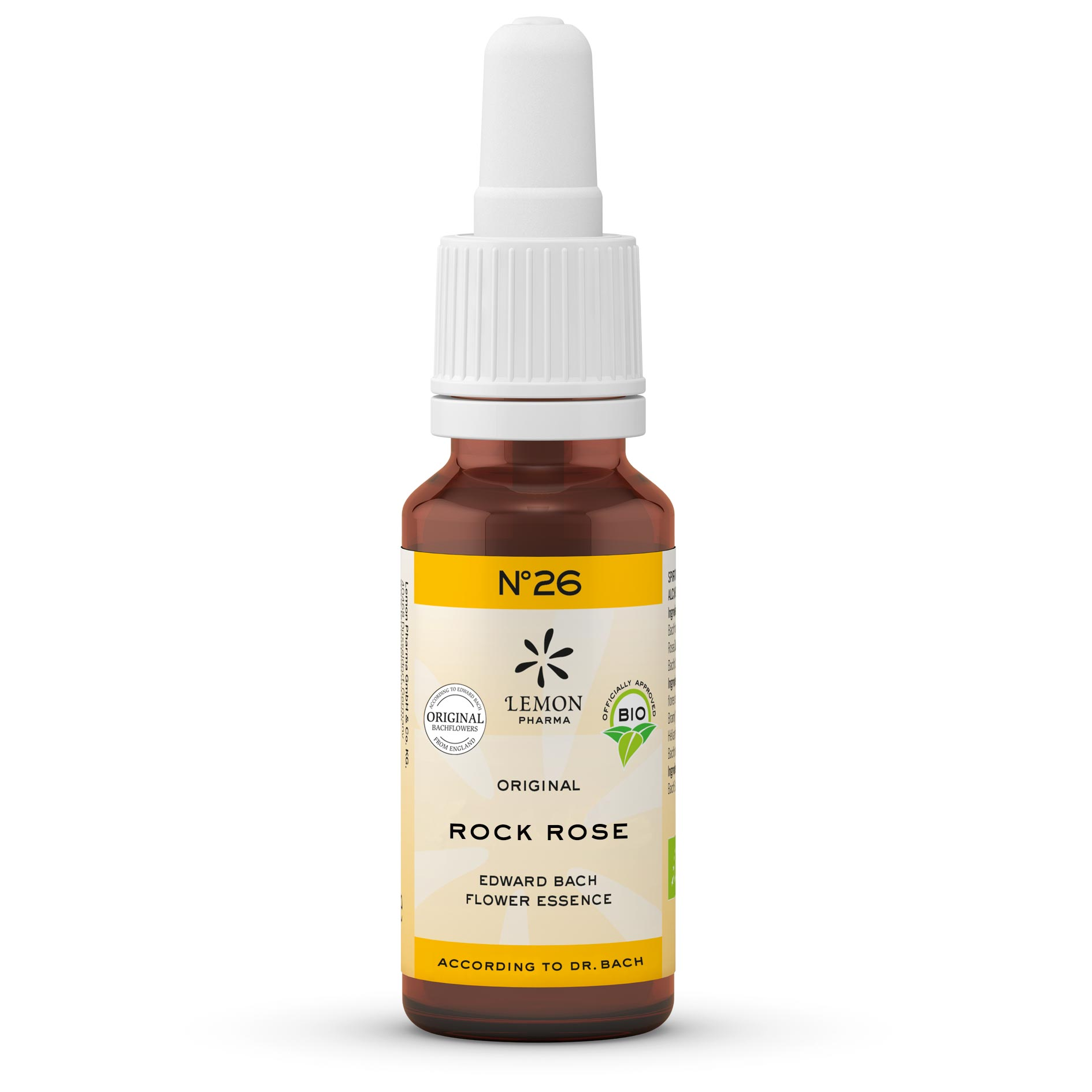 Gotas Flores de Bach Lemon Pharma Original Nº 26 Rock Rose Heliantemo Fuerza Interna