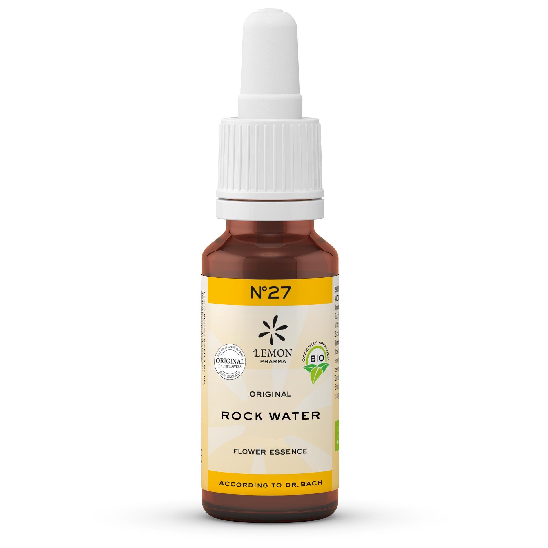 Gotas Flores de Bach Lemon Pharma Original Nº 27 Rock Water Agua de Roca Ligereza