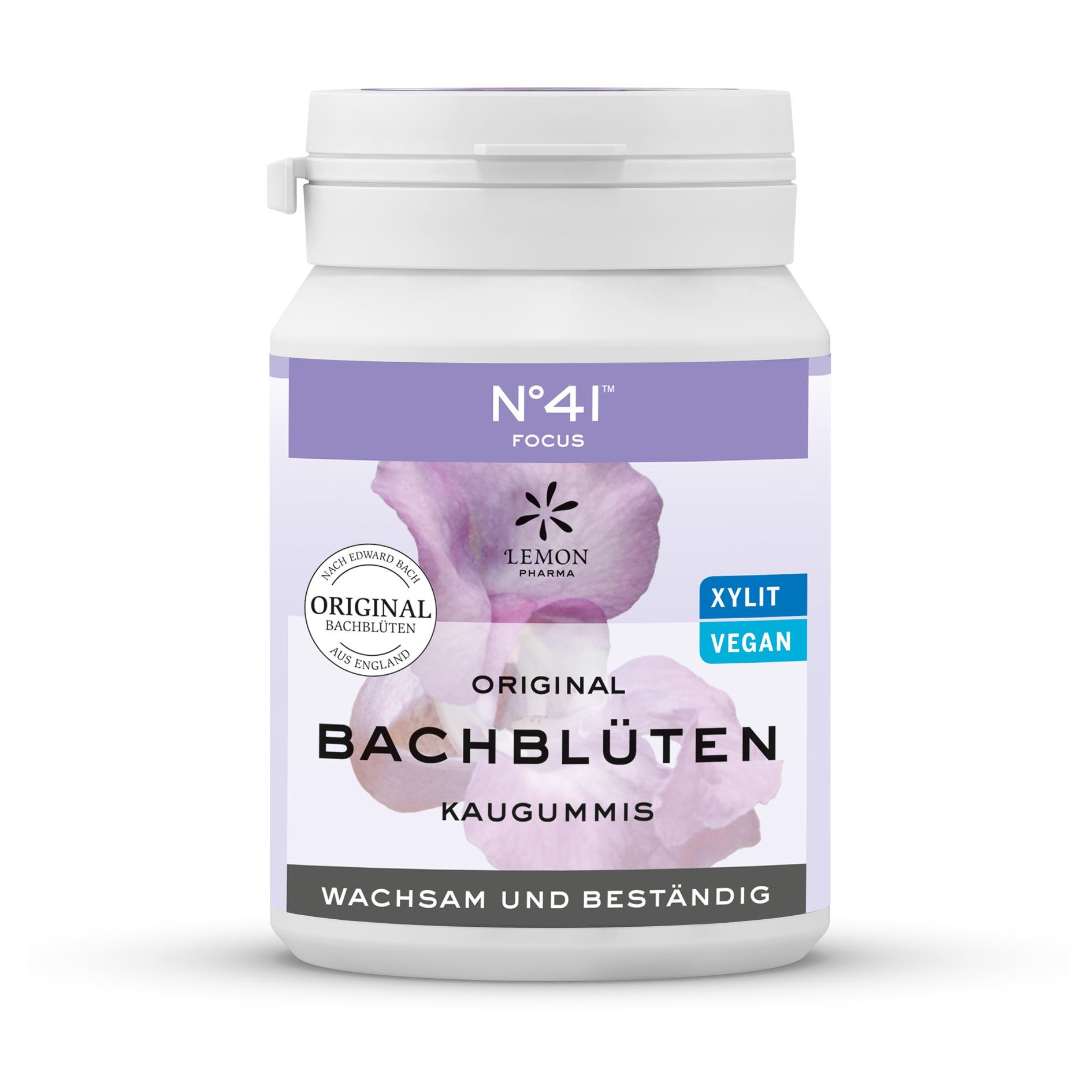 Kaugummi 41 Fokus Lemon Pharma Original Bachblüte Bach flowers Wachsam und Beständig Xylit Vegan